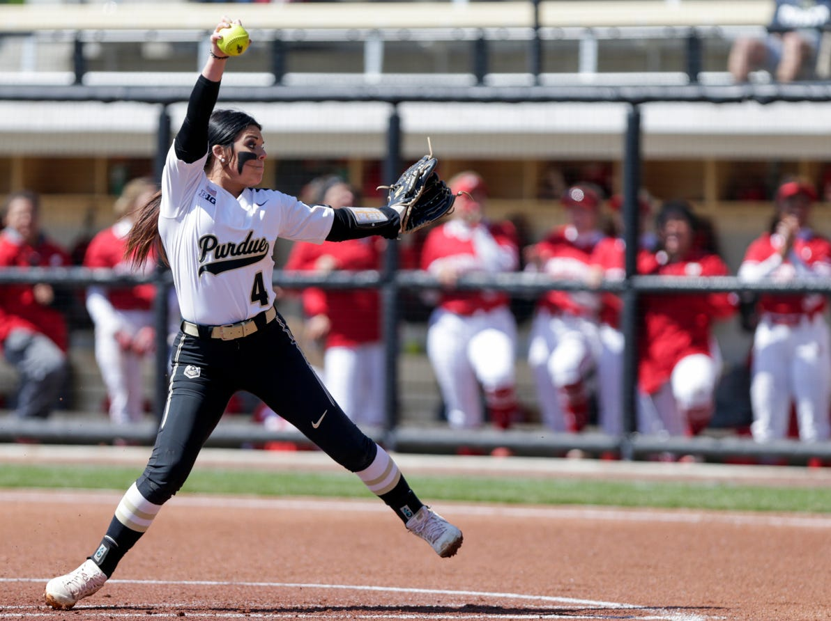 Purdue pitcher Maddie Damon (4) throws during the first inning of a NCAA softball game, Sunday, April 28, 2019 at Bittinger Stadium in West Lafayette. Wisconsin won, 4-1.