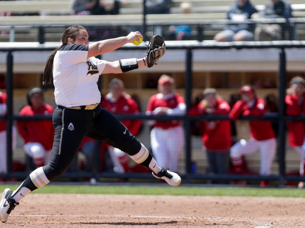 Purdue pitches Kaitlynn Moody (8) throws during the seventh inning of a NCAA softball game, Sunday, April 28, 2019 at Bittinger Stadium in West Lafayette. Wisconsin won, 4-1.