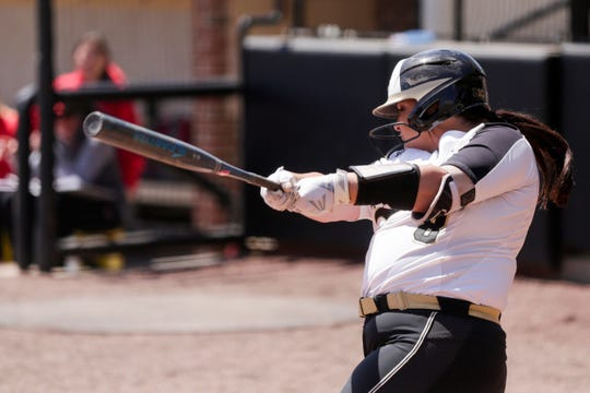 Purdue designated hitter Kaitlynn Moody (8) swings during the sixth inning of a NCAA softball game, Sunday, April 28, 2019 at Bittinger Stadium in West Lafayette. Wisconsin won, 4-1.
