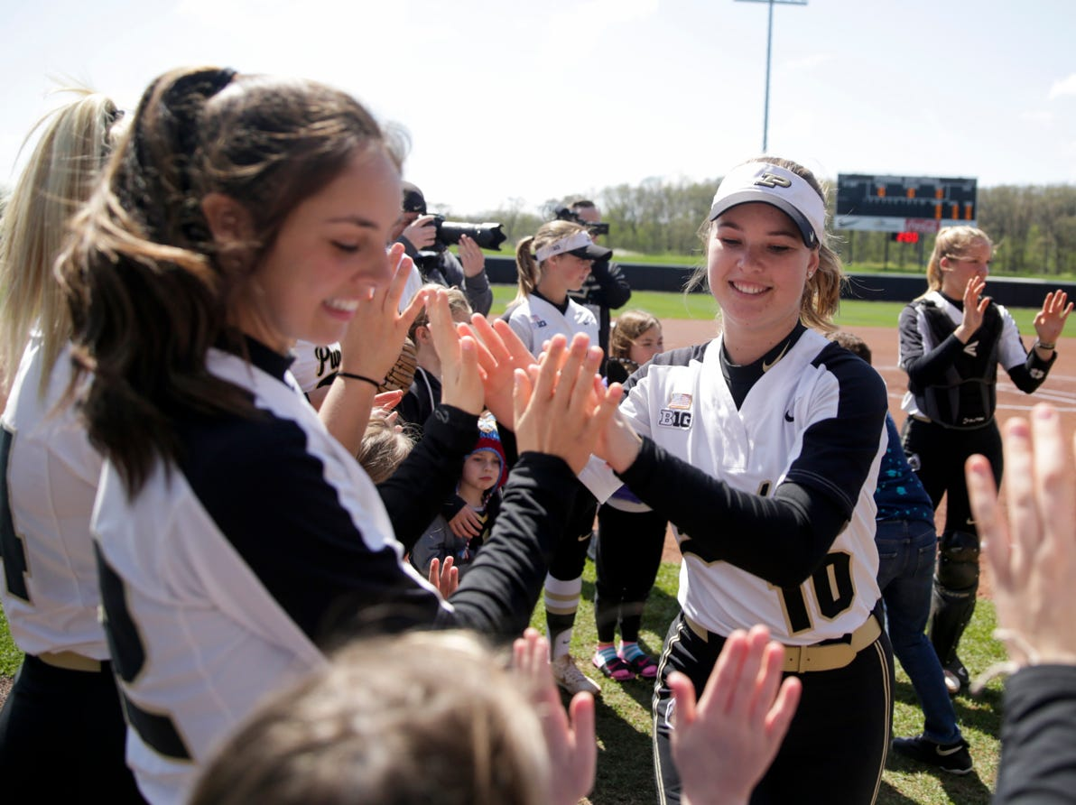 Purdue pitcher Sydney Preston (10) is announced before the first inning of a NCAA softball game, Sunday, April 28, 2019 at Bittinger Stadium in West Lafayette. Wisconsin won, 4-1.