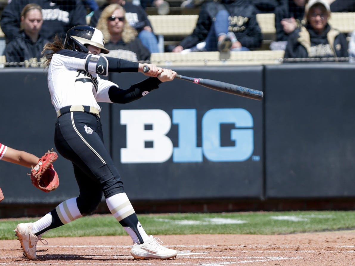 Purdue short stop Rachel Becker (15) connects during the fifth inning of a NCAA softball game, Sunday, April 28, 2019 at Bittinger Stadium in West Lafayette. Wisconsin won, 4-1.