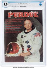 Neil Armstrong's copy of a 1989 Purdue Alumnus magazine, featuring him on the cover for the 20th anniversary of the moon landing, is among Purdue-related items from the Armstrong Family Collection, now up for auction.