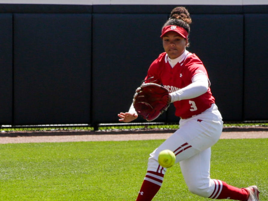 Wisconsin left fielder Tyra Turner (3) runs after the ball during the first inning of a NCAA softball game, Sunday, April 28, 2019 at Bittinger Stadium in West Lafayette. Wisconsin won, 4-1.