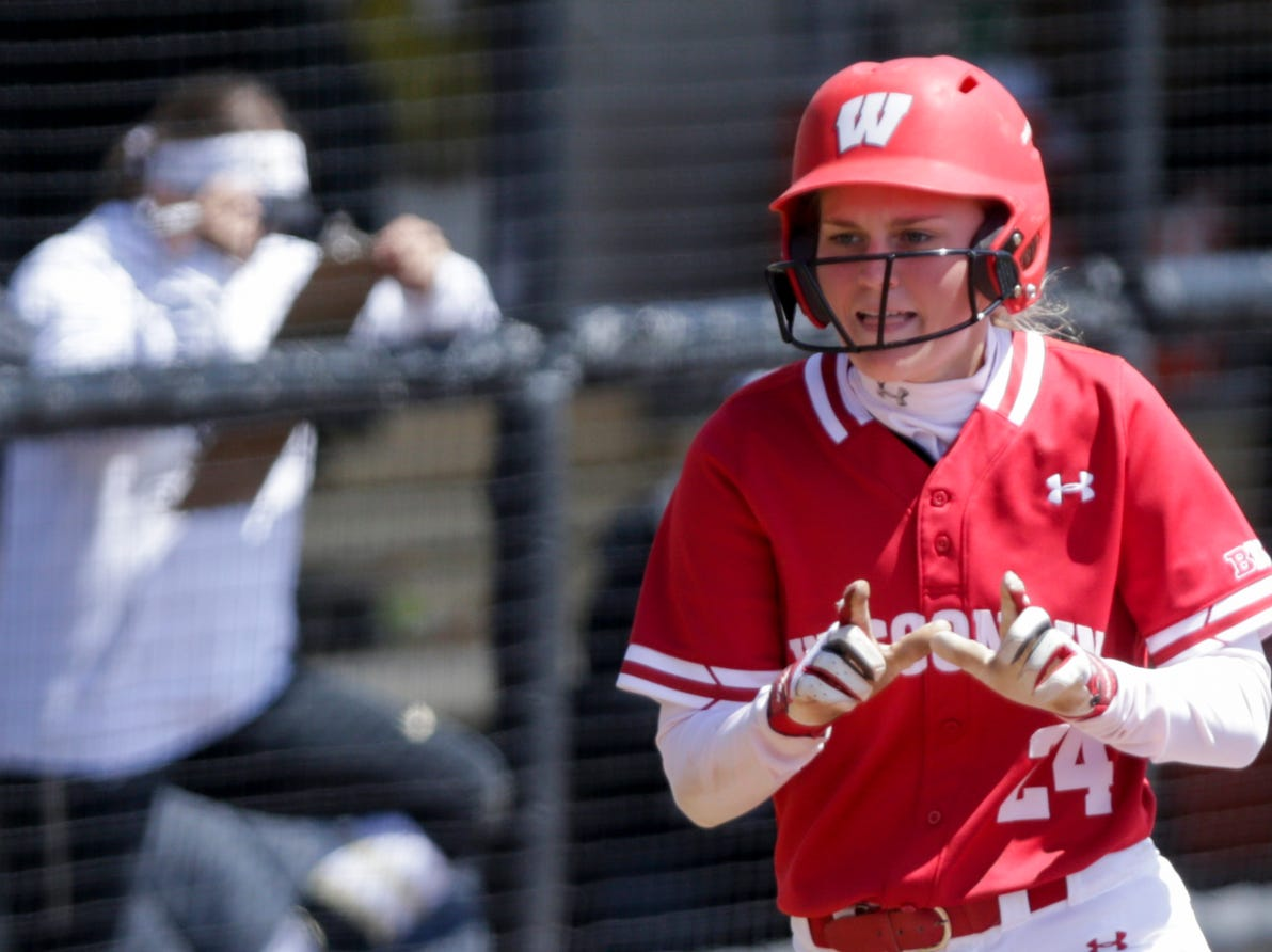 Wisconsin short stop Lauren Foster (24) celebrates after hitting a solo home run during the fourth inning of a NCAA softball game, Sunday, April 28, 2019 at Bittinger Stadium in West Lafayette. Wisconsin won, 4-1.