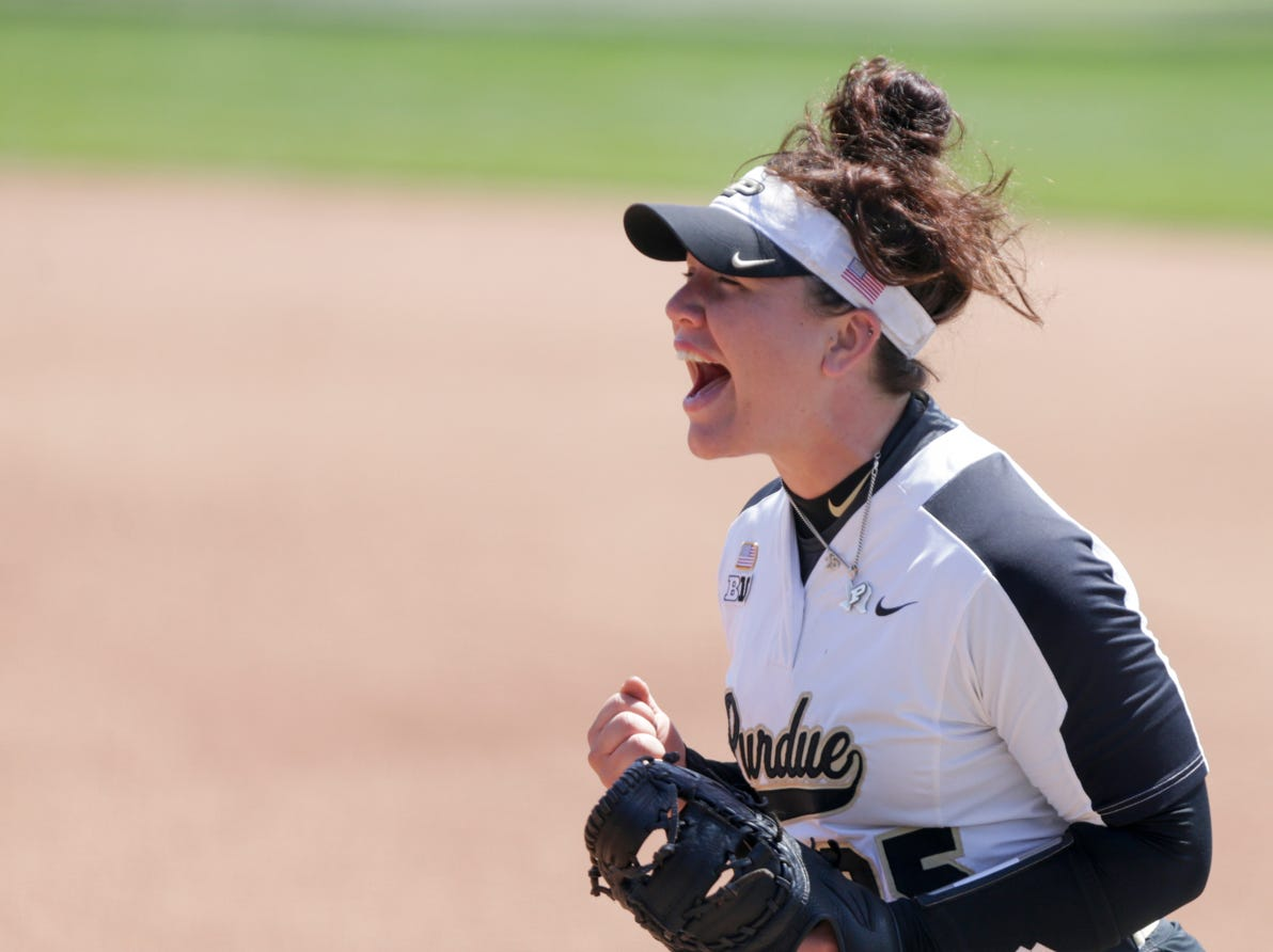 Purdue first baseman Lexi Huffman (25) celebrates a strike-out during the fourth inning of a NCAA softball game, Sunday, April 28, 2019 at Bittinger Stadium in West Lafayette. Wisconsin won, 4-1.