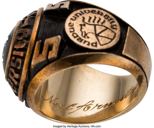 The inside of Neil Armstrong's Purdue class ring is an inscription with the first man on the moon's name. It is among Purdue-related items from the Armstrong Family Collection, now up for auction.