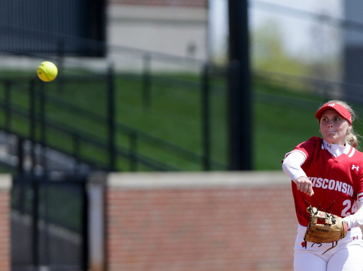 Wisconsin short stop Lauren Foster (24) throws to first during the fourth inning of a NCAA softball game, Sunday, April 28, 2019 at Bittinger Stadium in West Lafayette. Wisconsin won, 4-1.