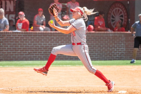UL's Alison Deville winds up a pitch in the circle as the Ragin' Cajuns take on the Coastal Carolina Chanticleers during their Senior Day game at Yvette Girouard Field on Sunday, April 28, 2019.