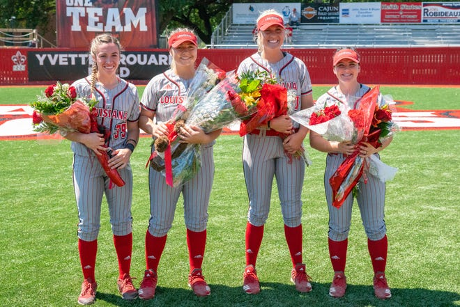 UL's seniors are celebrated during their Senior Day ceremony before the game as the Ragin' Cajuns take on the Coastal Carolina Chanticleers during their Senior Day game at Yvette Girouard Field on Sunday.