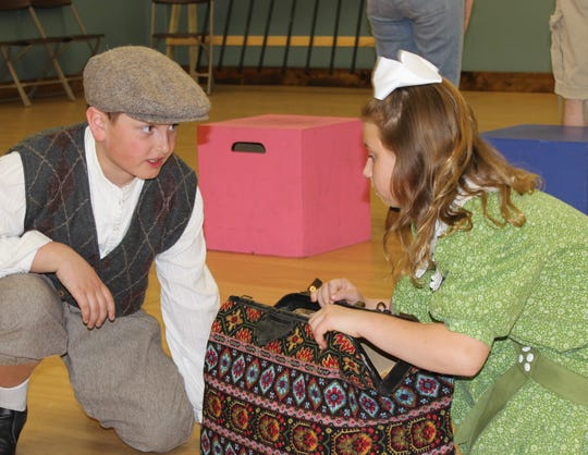 """Chloe Johanek as Jane Banks and Benjamin Booth as Michael Banks in The Masquers' production of """"Mary Poppins."""""""