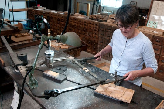 See wood type being created on original Hamilton Manufacturing Company machines.