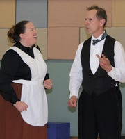 "Allison Schamburek as Mrs. Brill and Marty Schaller as Robertson Ay in The Masquers' production of ""Mary Poppins."""
