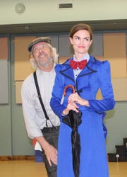 """Bert, played by R.J. Skrepenski, and Mary Poppins, played by Erin Nycz, in The Masquers' production of """"Mary Poppins."""""""