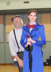 "Bert, played by R.J. Skrepenski, and Mary Poppins, played by Erin Nycz, in The Masquers' production of ""Mary Poppins."""