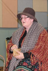 "Bird Woman, played by Judy Steckmesser, in The Masquers' production of ""Mary Poppins."""