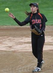 Lucas' Brooke Niswander played her final regular season game at home on Monday night.