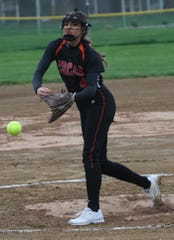 Lucas' Erica Westfield fired a 5-inning perfect game collecting 13 strikeouts in a 16-0 win over St. Peter's on Monday night.