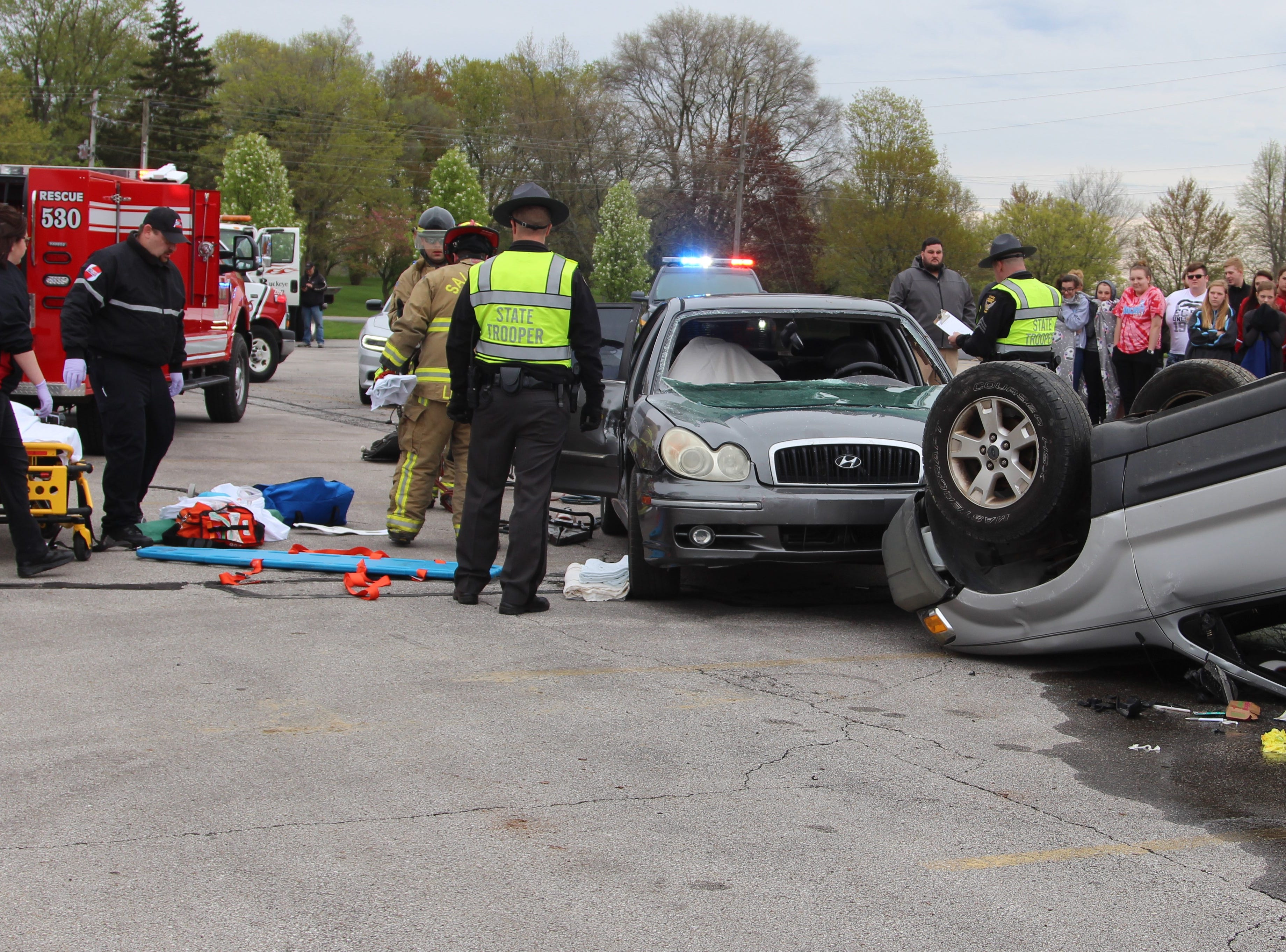 Members of the Salt Rock Fire Department, Survival Flight, the Ohio Highway Patrol and the Marion County Sheriff's Officer took part in a mock crash at Ridgedale Jr./Sr. High School Monday morning.