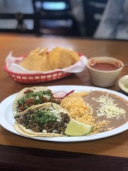 The taco lunch special at La Guadalupana on Summer Avenue comes with your choice of two tacos plus sides of rice and beans.