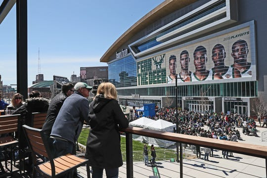 The plaza at Fiserv Forum will host fitness classes and movies this spring and summer.