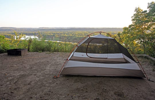 A tent is pitched at a campsite at Nelson Dewey State Park along the Mississippi River outside Cassville.