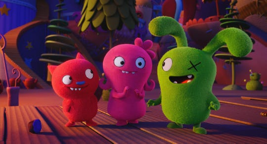 """UglyDolls,"" a movie based on the plush toys of the same name, has a voice cast including Wang Leehom (Lucky Bat, from left), Kelly Clarkson (Moxy) and Blake Shelton (Ox)."