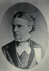 Olympia Brown, pictured in the late 1870s, was the first female physician in Wisconsin and was outraged when her ballot was thrown out when she tried to vote in Racine during the first Wisconsin election where women had a limited vote - only on education issues. She sued and won at the circuit court level but the state Supreme Court ruled against her.