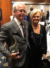 Terry Rynne received the humanitarian award from the James Foley foundation for founding the Marquette university Center for Peacemaking. Terry Rynne and his wife Sally are shown at the Foley Foundation Freedom Awards gala April 2, 2019 in Washington, D.C.