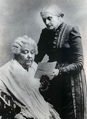Susan B. Anthony (standing) with Elizabeth Cady Stanton