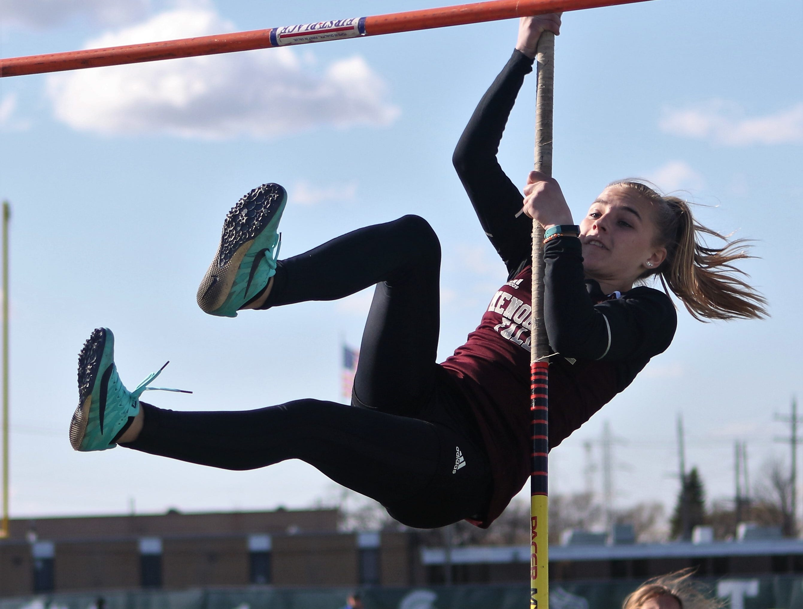 Haley Kanitz of Menomonee Falls competes in the pole vault competition during the Dan Benson Invitational at Wauwatosa West on April 26, 2019.
