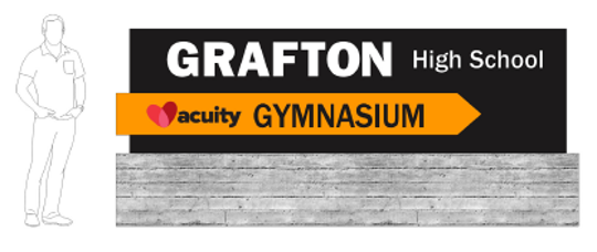 A rendering of a proposed new outdoor sign for Grafton High School and its gym, which would be renamed the Acuity Gymnasium as part of a 25-year partnership agreement between the Grafton School District and Acuity Insurance. Acuity Insurance donated $425,000 in exchange for naming rights to the gym.