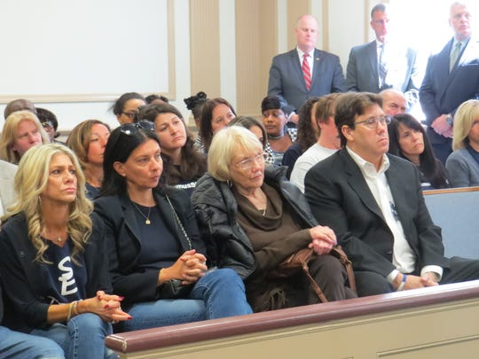 A full gallery, including some wearing #ParamusStrong T-shorts, attend the  arraignment of former bus driver Hudy Muldrow, charged with two counts of vehicular homicide and 16 assault charges, in Morristown Superior Court in Morristown,  April 29, 2019. Muldrow was driving a Paramus school bus when he crashed on Route 80 in Mount Olive on May 17, 2018. A student and a teacher died.