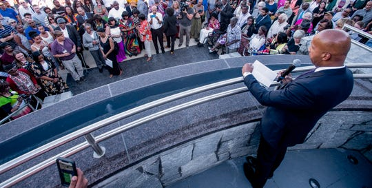 Bryan Stevenson, founder and Executive Director of EJI, speaks during the dedication of the new monument to those who were victims of racial terror lynchings or violence during the 1950s at the Peace and Justice Memorial Center in Montgomery, Ala., on Monday April 29, 2019.