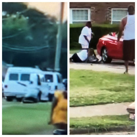 Stills taken from a video widely posted on Facebook show a man apparently firing a handgun, left, and people helping an injured man, right.