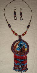 "Bead weaving necklace and earrings ""Homage"" by Muncie Artists Guild May Featured  Artist Maria Walker."