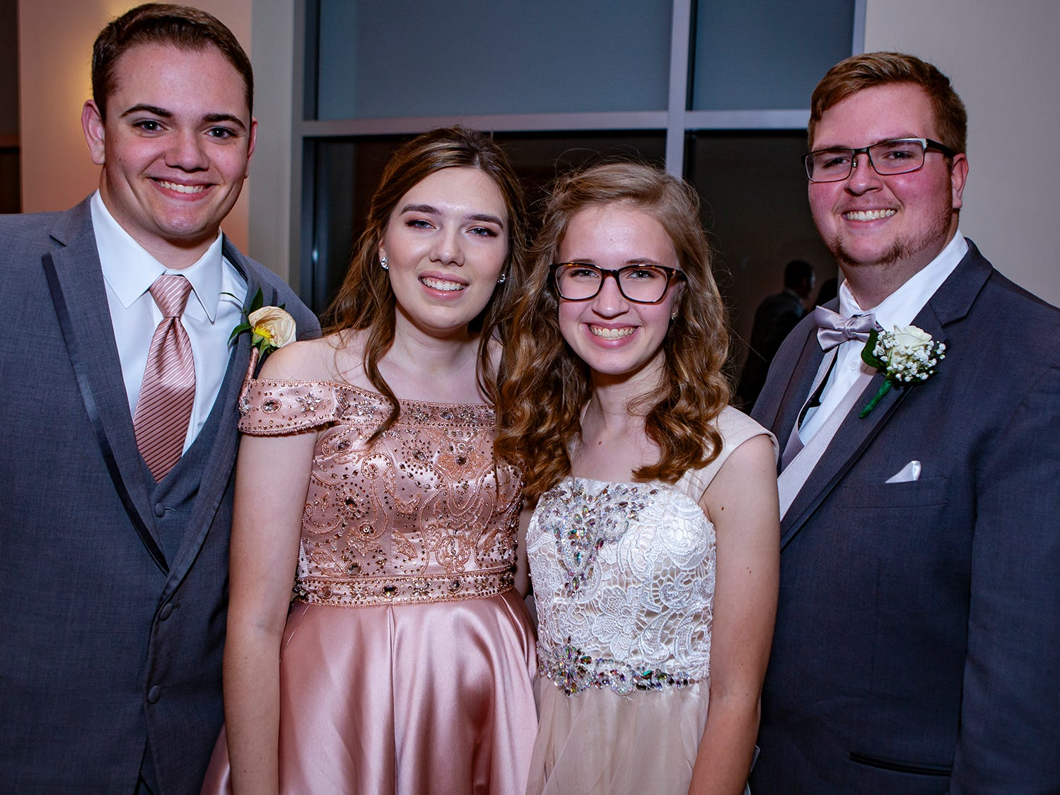 Aaron Lile, Hailey Fults, Claire Shirley and Garrett Ayers at Riverdale's prom, held Saturday, April 27, 2019 at MTSU's Student Union Building.