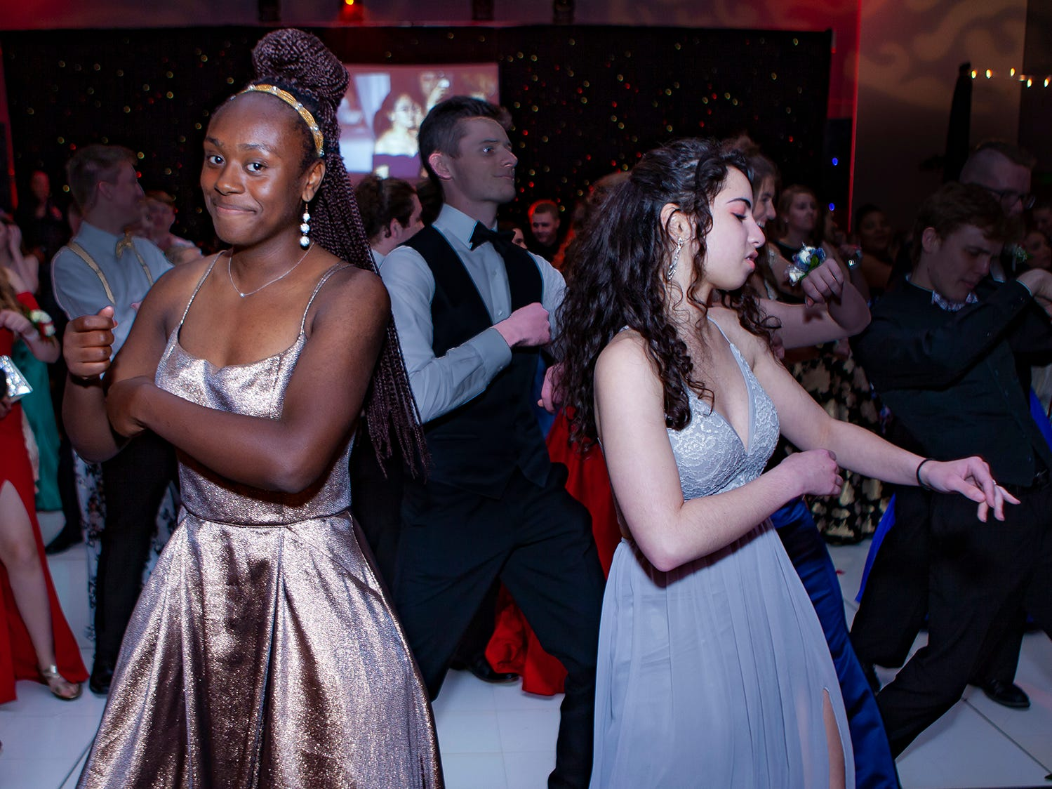 Autumn Jones and Katelyn Paniagua dance at Riverdale's prom, held Saturday, April 27, 2019 at MTSU's Student Union Building.