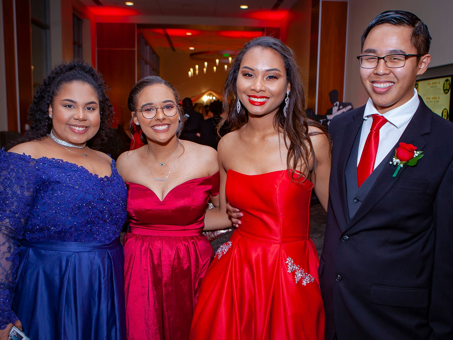 Briah Kilmartin, Cassidy Wright, Cheynne Robertson and Kevin Sisavang at Riverdale's prom, held Saturday, April 27, 2019 at MTSU's Student Union Building.