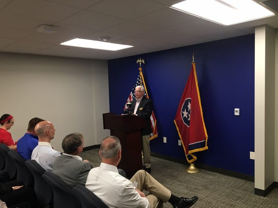 Gary Turner, director of training at Sumner Gun & Supply, LLC, spoke at a press conference organized by gun-control advocates against a Tennessee bill that would reduce training for obtaining a concealed handgun permit. Cordell Hull Building, Nashville. April 24, 2019.