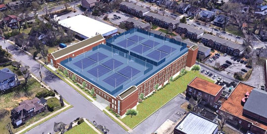 Rendering of the new parking garage and tennis complex being built on Belmont's campus.