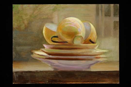 "Juliette Aristides, ""Teacup,"" 2019, oil on panel, 12""x9."""
