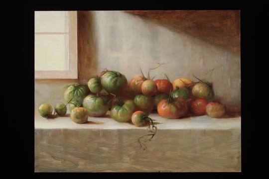 "Juliette Aristides, ""Tomatoes,"" 2019, oil on panel, 28""x22."""