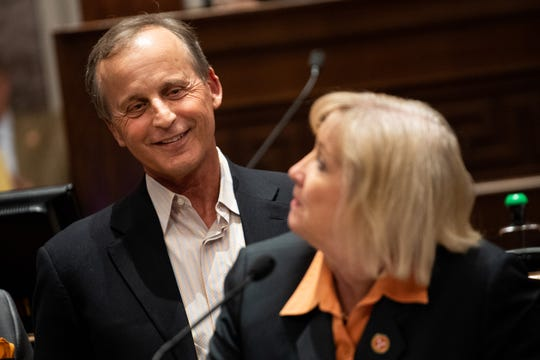 Tennessee men's college basketball coach Rick Barnes listens to Sen. Becky Massey, R-Knoxville, speak as he is honored during a joint convention at the state Capitol building in Nashville, Tenn., Monday, April 29, 2019.