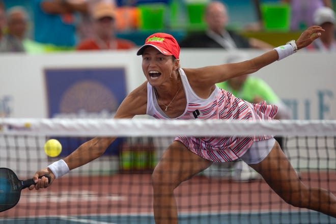 Simone Jardim returns the ball during the Women's Pro Singles championship game against Irina Tereschenko on Sunday on the Zing Zang Championship Court at East Naples Community Park.