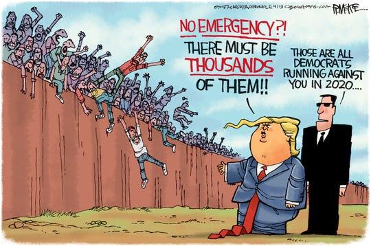 trump and rivals at border
