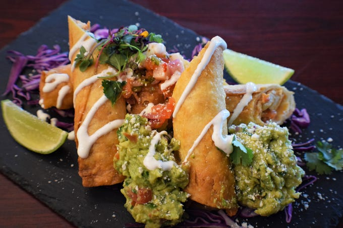 Taquitos Dorados feature Negra Modelo-marinated smoky pulled chicken at K-Rico Mexican Grill, which launched Monday, April 29, 2019, in the former longtime restaurant space of Roy's at Bayfront in Naples.