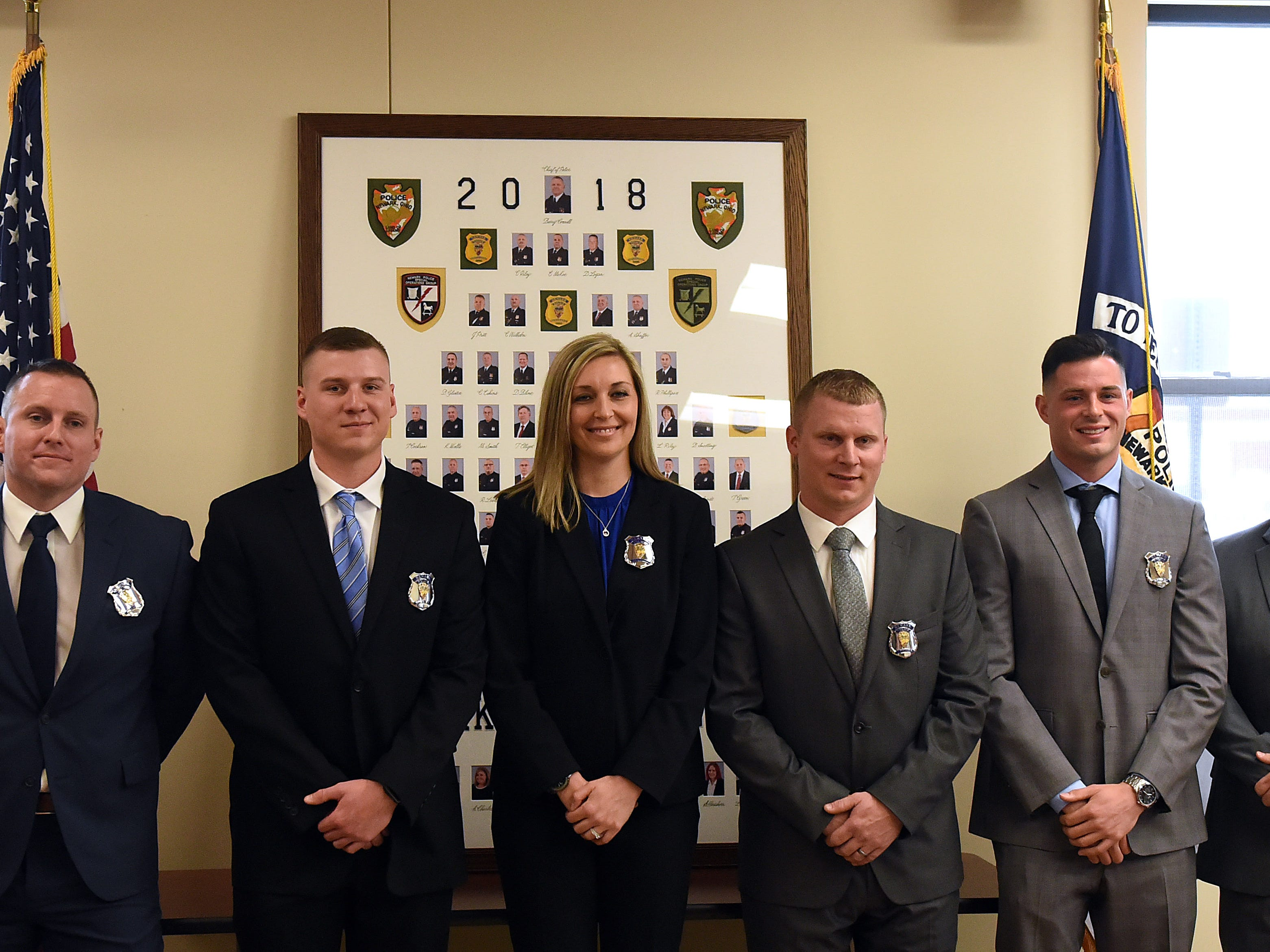 The Newark Police Department swore in seven new officers on Monday, April 29, 2019.
