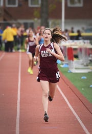 Sarah Geormaneanu of Park Ridge finishes first in the Patriot girls 1600 meter during the NJIC Patriot and Liberty Divisional track meet at Emerson Jr./Sr. High School in Emerson on 04/29/19.