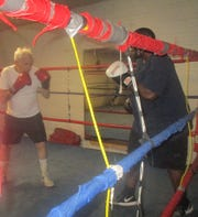90-year-old Pierre Benoist spars at a Paterson gym.