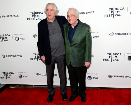 "Actor Robert De Niro, left, and director Martin Scorsese attend ""Tribeca Talks - Director Series - Martin Scorsese with Robert De Niro"" during the 2019 Tribeca Film Festival at the Beacon Theatre on Sunday, April 28, 2019, in New York. (Photo by Brent N. Clarke/Invision/AP)"